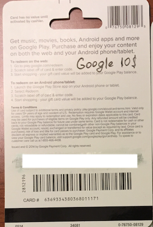 Buy Google Play Gift Card $ 10 (real photo) + DISCOUNT and ...