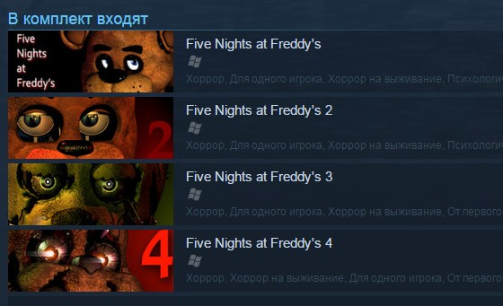 Five Nights at Freddy´s Franchise Pack (1-4) Steam RU