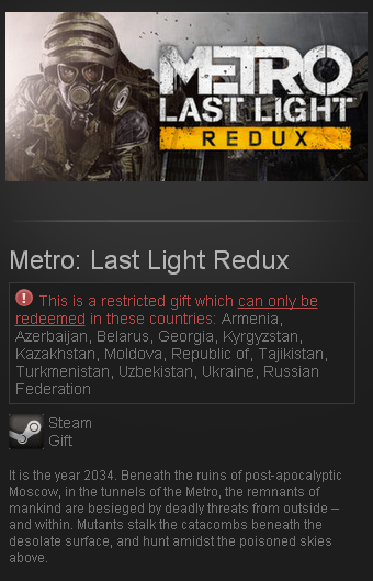 Metro: Last Light Redux (Steam Gift/RU CIS)