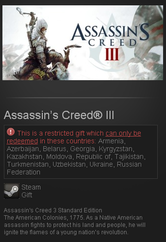 Assassin´s Creed III 3 (Steam Gift/RU+CIS) + БОНУС