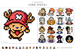 One Piece pixel art stickers for print.