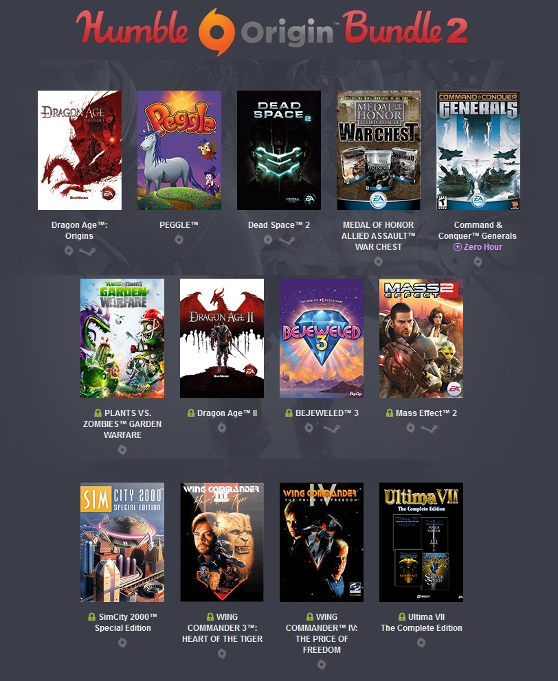 Humble Origin Bundle 2 FULL (13 Origin + 4 Steam)