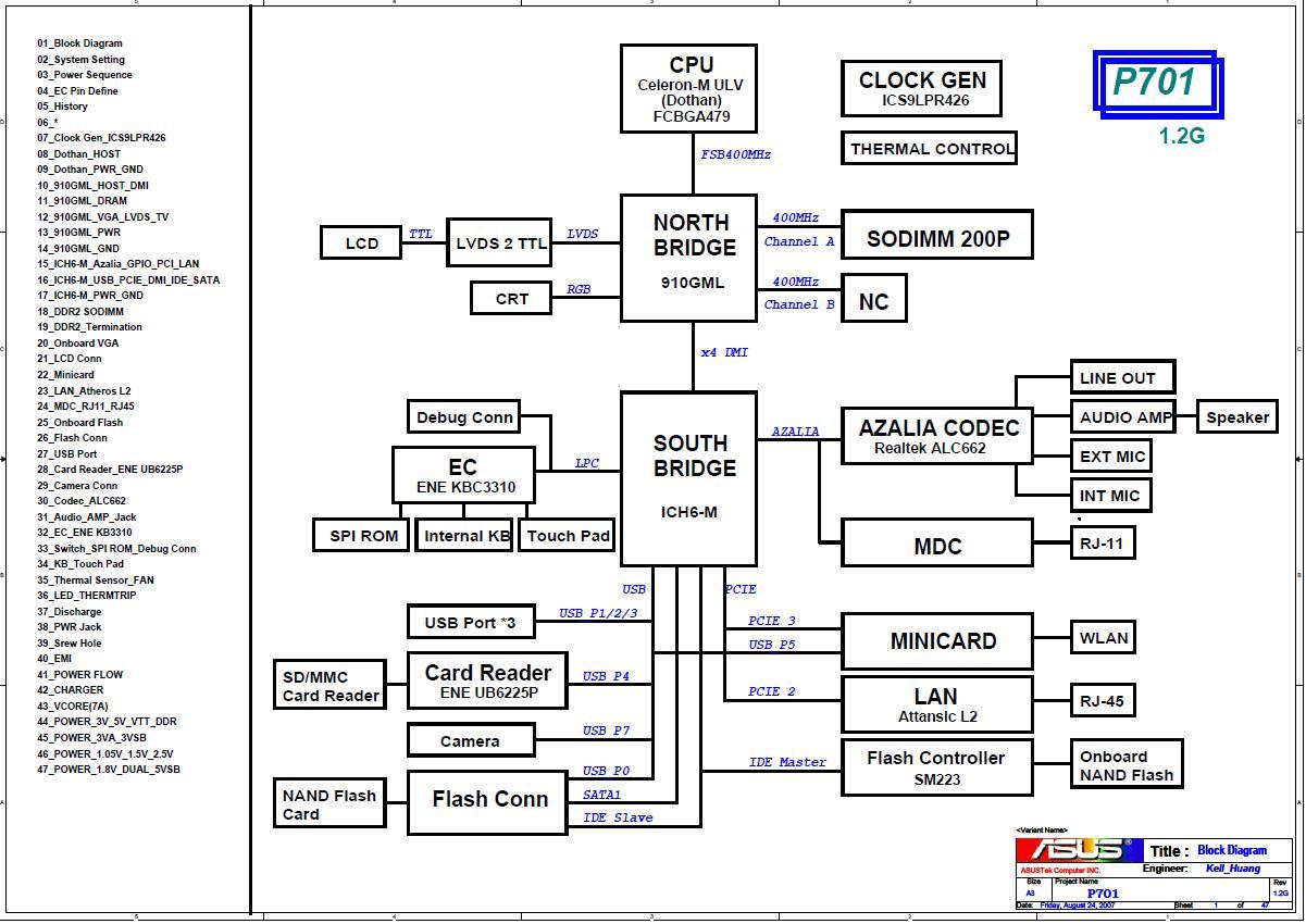Схема материнской платы ноутбука ASUS Eee PC 701 - rev 1.2G - Схемы ноутбуков.
