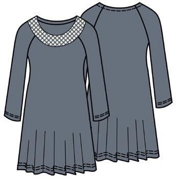 Выкройка платья с рукавами реглан 039