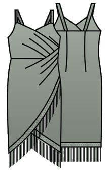 Выкройка коктейльного платья на бретельках 044