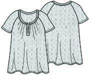 Выкройка блузки с короткими рукавами реглан 067