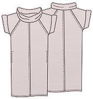 Выкройка платья для полных из трикотажа с рукавами 017