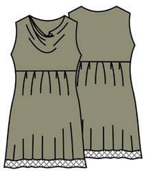 Выкройка платья без рукавов с драпировкой качели 033