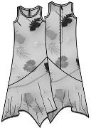 Выкройка платья с юбкой по косой для полных 156
