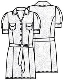 Выкройка платья с рукавами фонарик 175