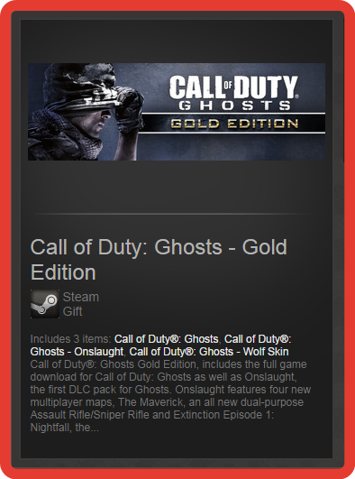 Call of Duty: Ghosts - Gold Edition (ROW) - steam gift