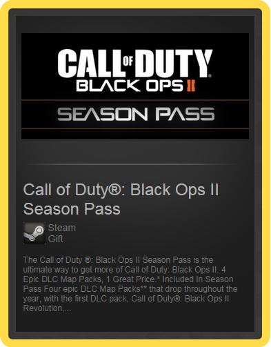 Call of Duty: Black Ops II Season Pass (ROW) steam gift