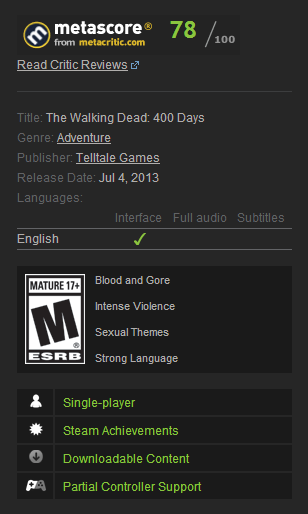 The Walking Dead: 400 Days (Steam Gift / Region Free)