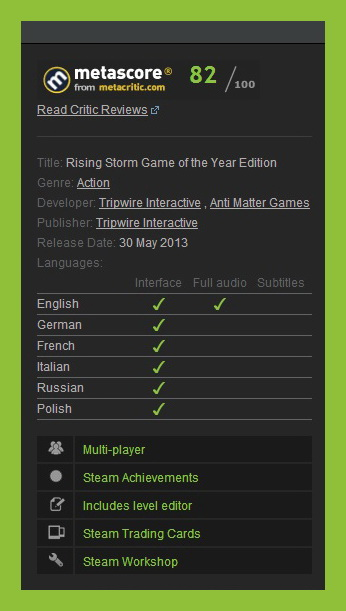 Rising Storm - GOTY (Steam Gift ROW / Region Free)