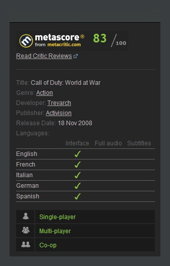 Call of Duty: World at War (Steam Gift / Region Free)
