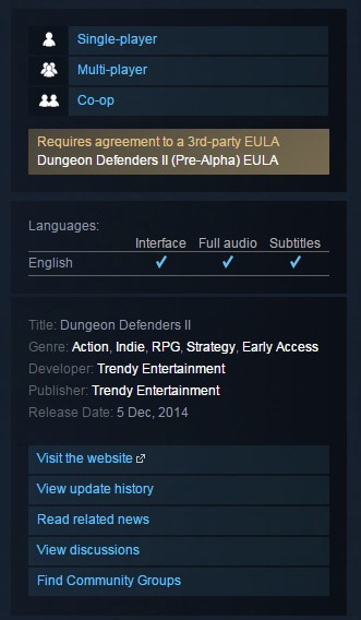 Dungeon Defenders II 2 (Steam Gift ROW / Region Free)