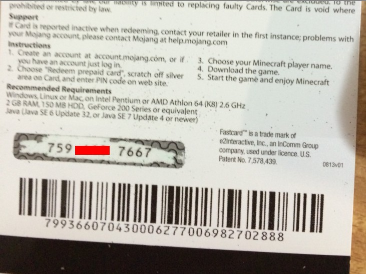 MINECRAFT Gift code  (PHOTO) REGION FREE
