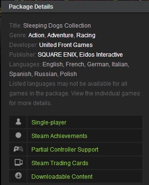 Sleeping Dogs Collection (Steam Gift ROW  Region Free)