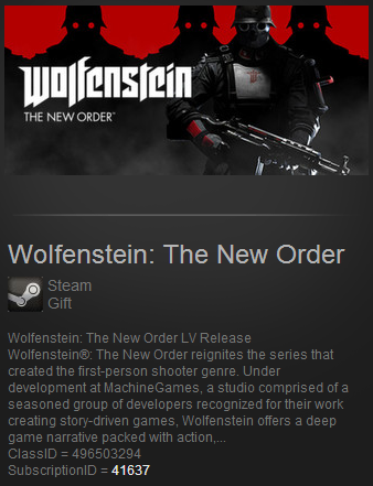 Wolfenstein:The New Order LV DE Steam Gift Region Free