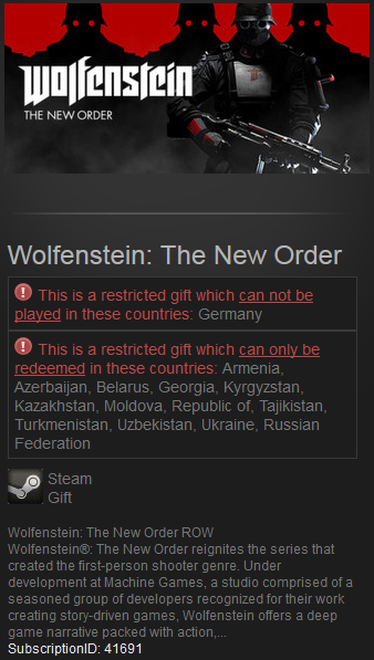 Wolfenstein: The New Order Steam RU+CIS/VPN*