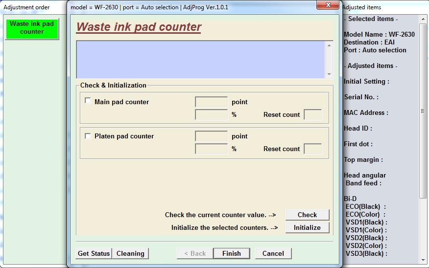 Adjustment program Epson WorkForce WF-2630