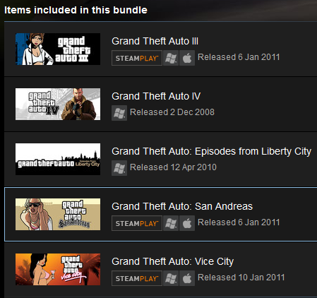 GRAND THEFT AUTO COMPLETE(5 GAMES) (Steam)(Region Free)