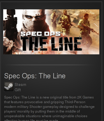 Spec Ops The Line (Region free, steam gift)