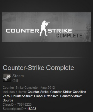 Counter Strike Complete (CS:GO+CS1.6+CSS) - Steam Gift