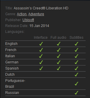 Assassins Creed Liberation HD (Steam gift region free)