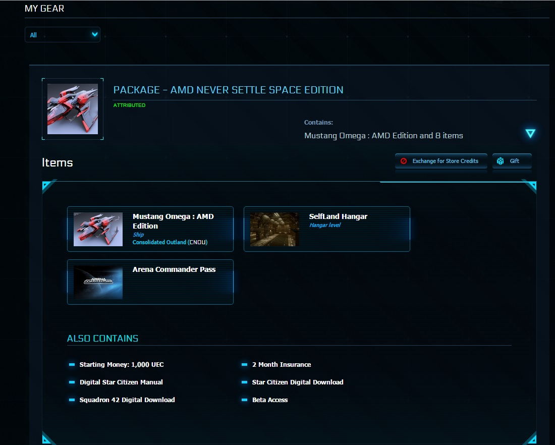 Star Citizen AMD Mustang Omega Package (Worldwide)