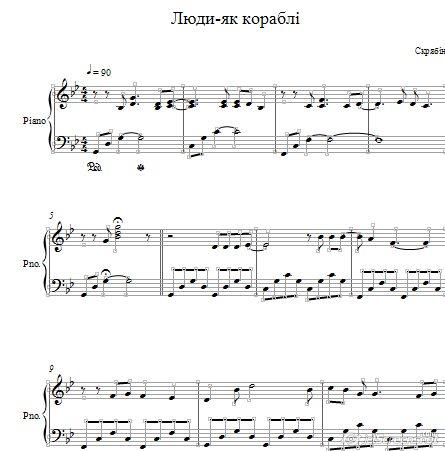 Скрябiн Люди як кораблi ноты для фортепиано