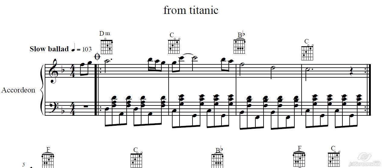 All Music Chords my heart will go on sheet music : Buy My heart will go on (Titanik) for accordion / piano and download