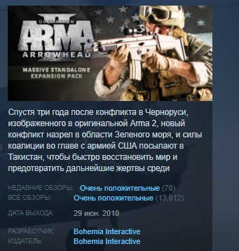 Arma 2 Operation Arrowhead STEAM KEY REGION FREE GLOBAL