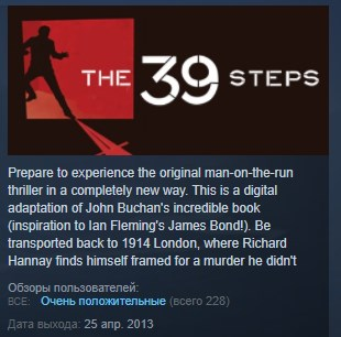 The 39 Steps ( Steam Key / Region Free ) GLOBAL ROW