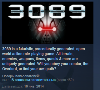 3089 -- Futuristic Action RPG (Steam Key / Region Free)