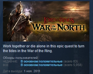 Lord of the Rings: War in the North STEAM KEY ЛИЦЕНЗИЯ