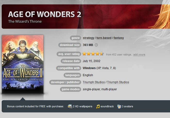 Age of Wonders 2: The Wizard´s Throne  ( GOG.COM Key )
