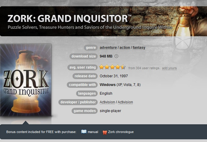 Zork: Grand Inquisitor ( GOG.COM Key )