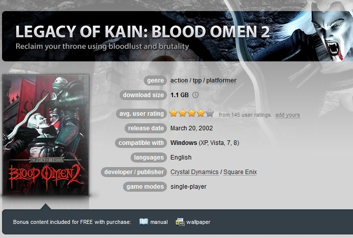 Legacy of Kain: Blood Omen 2 ( GOG.COM Key )