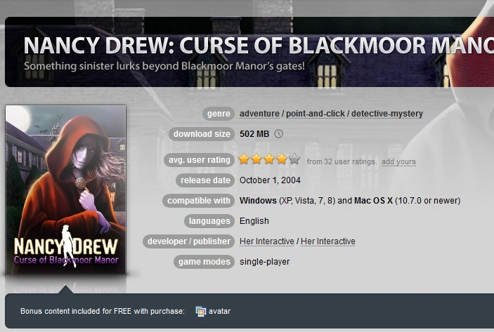 Nancy Drew: Curse of Blackmoor Manor ( GOG.COM Key )