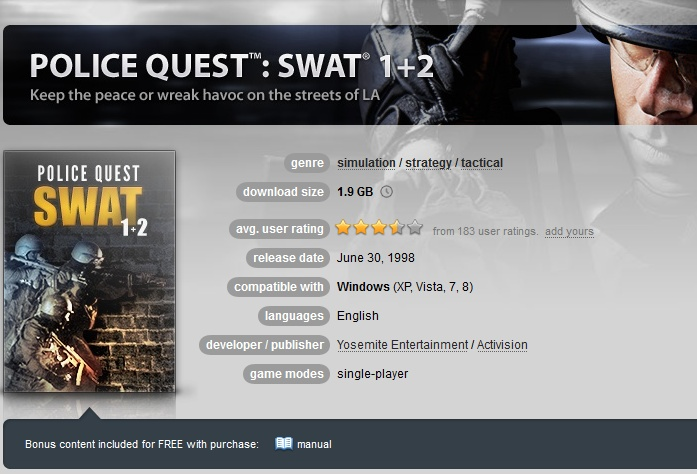 Police Quest: SWAT 1+2 ( GOG.COM Key )
