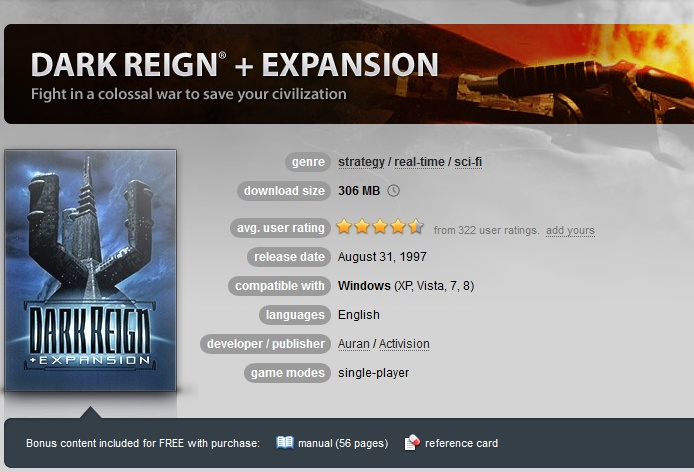 Dark Reign + Expansion  ( GOG.COM Key )