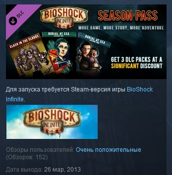 BioShock Infinite Season Pass STEAM KEY REGION FREE ROW