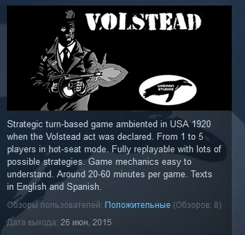 Volstead ( Steam Key / Region Free ) GLOBAL ROW