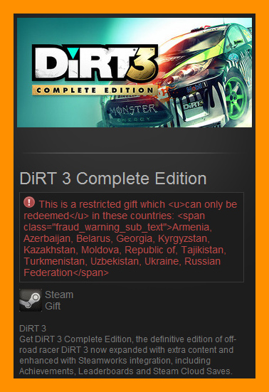 DiRT 3 Complete Edition (Steam Gift / RU CIS)