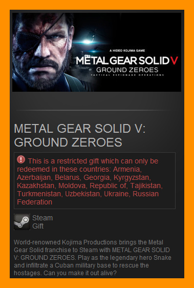 Metal Gear Solid V: Ground Zeroes (Steam Gift / RU CIS)