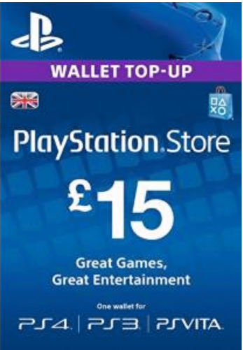 PSN Gift Card Code UK £15 GBP for PS4, PS3, PS Vit