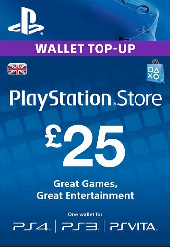 PSN Gift Card Code UK £25 GBP for PS4, PS3, PS Vit