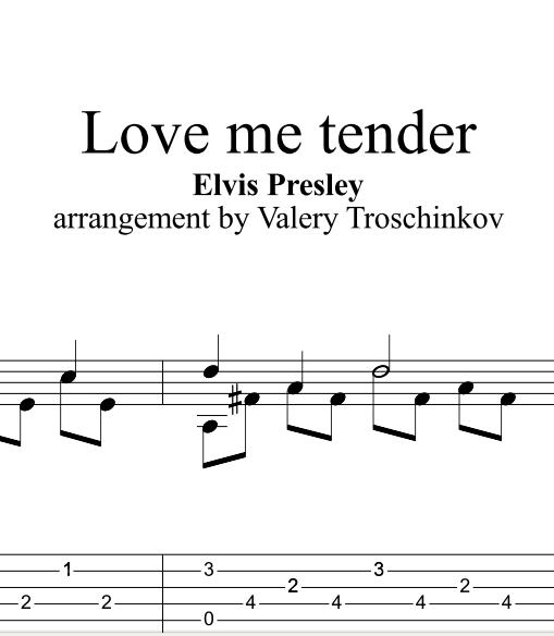 Love me tender - E.Presley. Ноты, табы и Gtp для гитары
