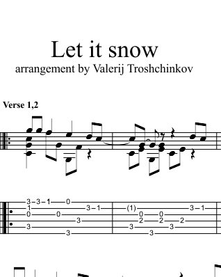 Let it snow. Ноты и табы для гитары